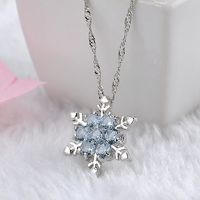 Charm Vintage lady Blue Crystal Snowflake Zircon Flower Silver Necklaces & Pendants Jewelry gift for Women girls Wholesale $7.98