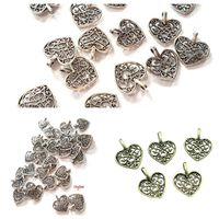 Pack of 50 Filigree Heart Charms. 14mm x 16mm Bronze or Silver Metal Pendants for Handmade Jewellery £8.99