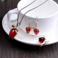 Tulip red steel jade earrings / 925 silver red steel jade necklace / red steel jade ring / 3 piece set bridal jewelry