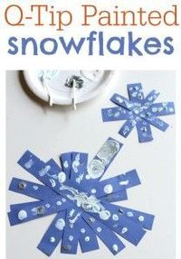 Q-Tip Painted Snowflakes - pinned by