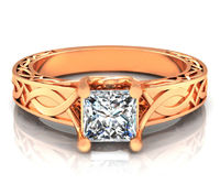 Rose Princess cut Engagement Ring Simulated Diamond Milgrain Ring in 14K or 18K Solid White Yellow or Rose Solid Gold $557.00