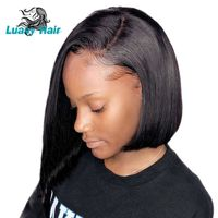 Luasy Short Lace Front Human Hair Wigs With Baby Hair Brazilian Remy Hair Bob Wig For Black Women Natural Color Free Shipping $159.09
