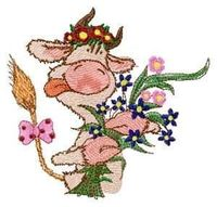Machine embroidery design-Funny cow