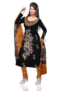 Unstitched casual rustic black and yellow Batik pure cotton salwar kameez