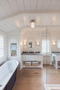 Shiplap ceiling and walls - normally I find large bathrooms a waste of space. But this one I would take :)