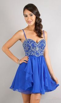 2014 Cheap Blue Short Sparkly A Line Prom Dress