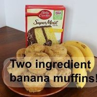 Two ingredient banana muffins. Super quick, delicious and moist!