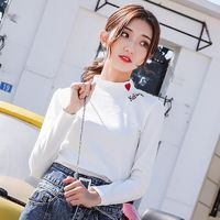 Vogue Embroidery Slimming High Neck Accessories One Color Spring 9/10 Sleeves Essential T-shirt Top - Bonny YZOZO Boutique Store