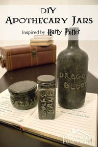 These DIY apothecary jars are a great way to recycle empty containers, and perfect quick and easy decor for Halloween! All you need is a jar, hot glue, and paint!
