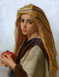 classic-art: Girl with a Pomegranate William Adolphe Bouguereau, 1875