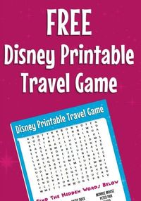 Here is a great road trip tip: Bring This free Disney word search, plus more printable travel games for kids.