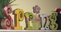 Spring letters Easter Decor Spring Decor DIY Unfinished Complete Kit with Papers Flowers Ribbon