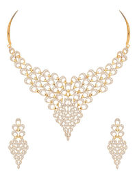 GOLD PLATED DIAMOND LOOK NECKLACE SET