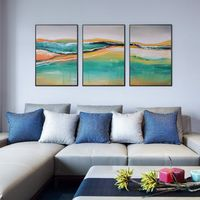 Water color Set of 3 wall art orange paintings on canvas Framed painting seascape painting 3 piece wall art teal blue pictures $198.00