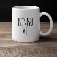 Kinky af - as fornicating gag gift white ceramic coffee mug $15.95