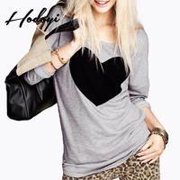 Vogue Sport Style Printed Scoop Neck Heart-shape Fall Casual 9/10 Sleeves T-shirt - Bonny YZOZO Boutique Store