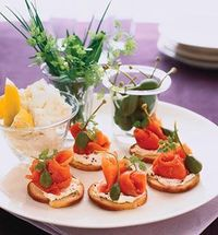 Mix cream cheese, lemon juice and zest. Season with salt and pepper. Dollop a small spoonful of cream cheese mixture on each bagel chip. Gently roll salmon pieces into loose cylinders and lightly pinch together at the bottom to create a rose shape. Place ...
