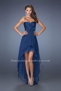 Strapless Formal High Low Navy Homecoming Dresse by La Femme 19471