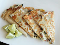 Ramp and chorizo quesadillas (sub chicken of the woods with seasonings?)