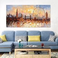 Original London city Skyline painting On Canvas modern impasto heavy texture cityscape Large living room wall oil painting home abstractos $129.00