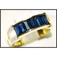 Natural For Men Blue Sapphire Diamond 18K Yellow Gold Ring [RQ0021]