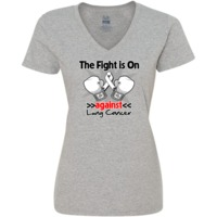The Fight is on Against Lung Cancer powerful slogan on Women's V-Neck T-Shirts featuring boxing gloves and an awareness ribbon to take a firm stand for awareness and advocacy
