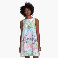 Funky 60s 70s Retro Hippie Spiral Flower A-Line Dress