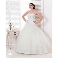 Honorable A-line Strapless Beading Lace Sweep/Brush Train Tulle Wedding Dresses - Dressesular.com