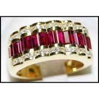 Jewelry Diamond and Ruby 18K Yellow Gold Eternity Ring [RQ0011]