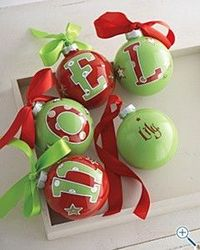 ornaments - I have to wonder if the initial is painted on the inside or the outside.