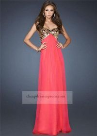 Watermelon Long Strapless Sparkly Prom Dress 2014