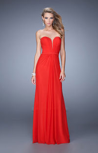 Red Strapless Sweetheart Ruched Bodice La Femme 21343 Prom Gown