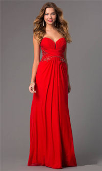 Jovani 22257 Long Ruched Red Lace Prom Dresses 2015