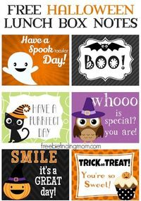 free printable Halloween lunch box notes from Freebie Finding Mom