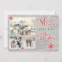 Merriest Holiday Wishes Multi Photo Flat Card