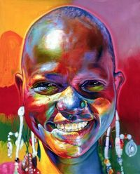 portrait paintings, black art and acrylic paintings.