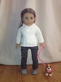 """18"""" doll cabled sweater free knitting pattern"""