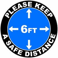 Please Keep A Safe Distance of 6 Ft Outdoor/Warehouse Floor Decal Multi-Pack (5 per pack) English, Spanish or Bilingual $52.50