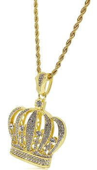 Gold Plated Crystal Crown Pendant with Diamond Cut Rope Chain Necklace £31.50