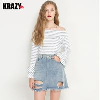 Attractive Flare Sleeves Bateau Double Layered Frilled 9/10 Sleeves Stripped T-shirt Top - Bonny YZOZO Boutique Store