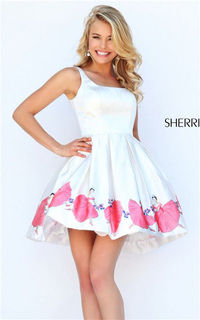 Short 2016 Sherri Hill 50321 Ivory/Pink Print Floral Homecoming Gown