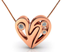 Rose Gold Diamond Heart Pendant, Heavy Pendant 14K Gold $2200.00