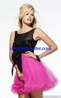 Short Black Pink Sparkles Party Dress 2013