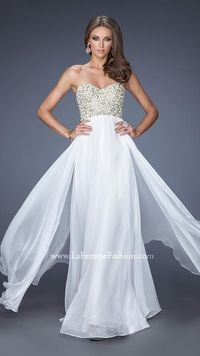 White Pearled Perfection Sweetheart La Femme 20061 Prom Gown