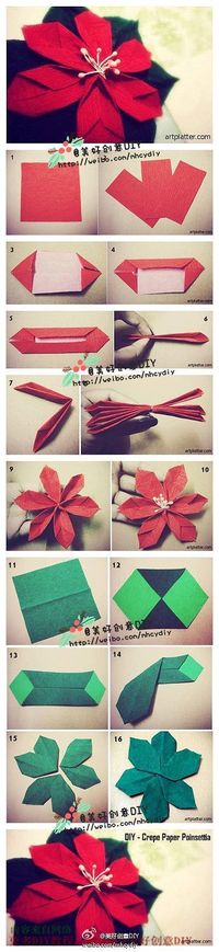 Origami Poinsettia Folding Instructions | Origami Instruction