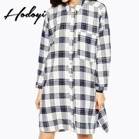 Oversized Vogue Slimming High Low Lattice Fall 9/10 Sleeves Dress - Bonny YZOZO Boutique Store
