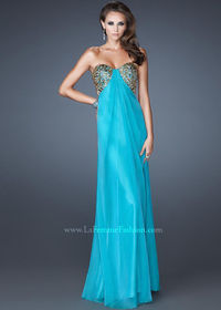 Cheap 2014 La Femme 18617 Peacock Strapless Long Prom Dress