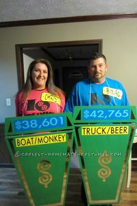 We had a great time making this Price Is Right Costume. We got corrugated board and spray painted them green. Then we vinyled all the letter designs. Tied