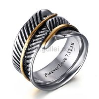 Gullei.com Personalized Feather Mens Ring Polished Titanium 10mm
