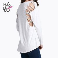 Fall 2017 women new style fashion sexy pierced the shoulder cord round neck long sleeve t-shirt - Bonny YZOZO Boutique Store